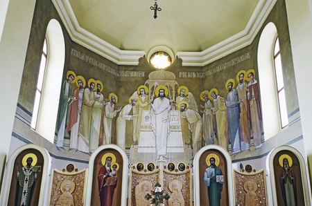 LVIV, UKRAINE - JUNE 06, 2012: The internal painting of the church of St. Anne. This image - Painted on the Altar. The author - Ivan Protsiv.