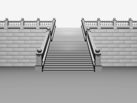 Staircase in the classical style, isolated over white photo