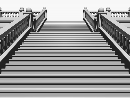 Staircase in the classical style, isolated over white