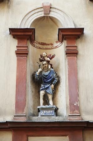 christopher: Sculpture Saint Christopher in Lviv, Ukraine Stock Photo