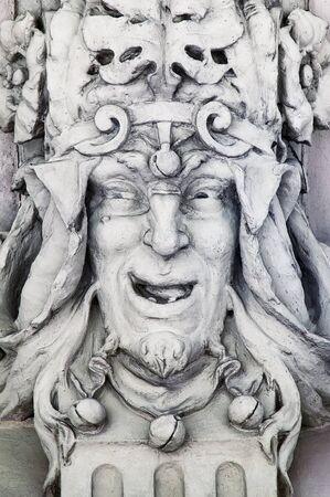 antics: Sculpture in the shape of a jesters head. Lviv, Ukraine