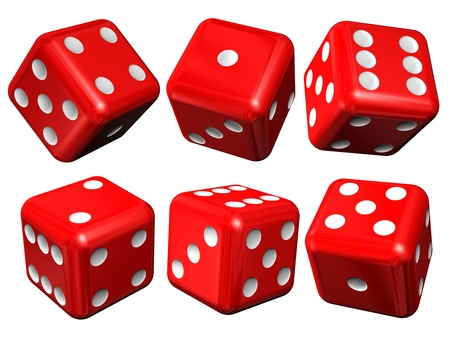 Set of red casino craps (dices), isolated over white photo