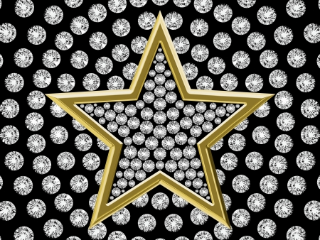 Golden Star of diamonds on a background set diamonds photo