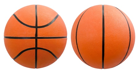 Basketball from different angles isolated on white photo