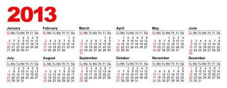 Amerikaanse kalender voor 2013