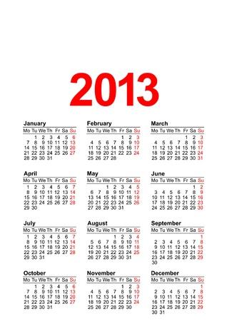 European calendar for 2013