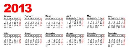 European calendar for 2013 Stock Vector - 15256151