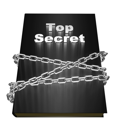 The book is labeled  Top Secret , wrapped metal chain isolated over white