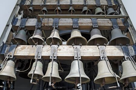 Church bells close-up. Belfry of  St. Michaels Cathedral in Kiev, Ukraine. photo