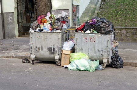 KIEV, UKRAINE - SEPTEMBER 02: In the center of Kiev did not take out the garbage on September 02, 2012 in Kiev, Ukraine.