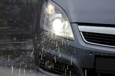 The car in the rain Stock Photo