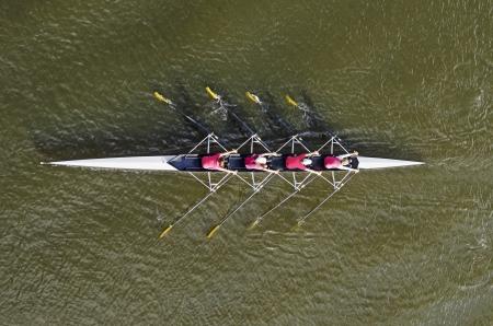 Damen Ruderteam, Ansicht von oben Standard-Bild