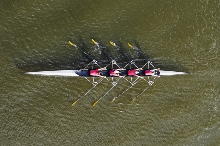 Women's rowing team, top view
