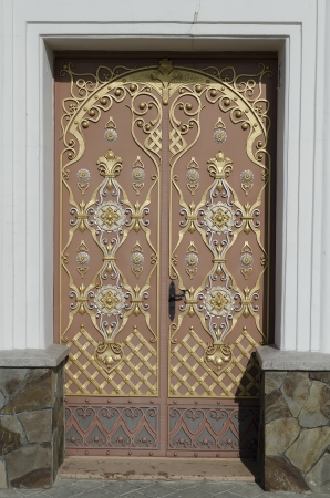 Entrance in the Holy Dormition Cathedral in Pochaev Lavra, Ukraine photo