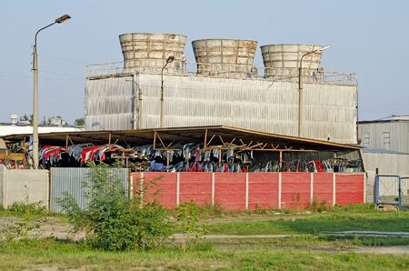 Cooling tower and warehouse car demolition Stock Photo - 15841267