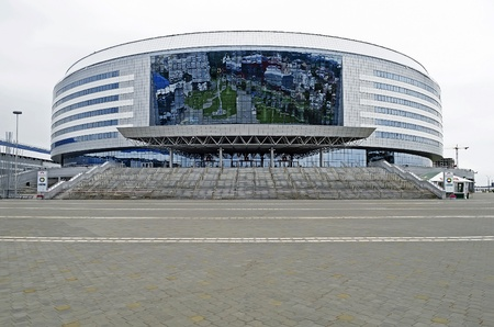 MINSK, BELARUS - AUGUST 19: Especially for the World Championship in ice hockey in 2014, in Minsk built Ice Palace