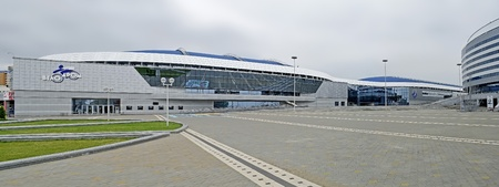 MINSK, BELARUS - AUGUST 19: Especially for the World Championship in ice hockey in 2014, built in Minsk Ice Palace