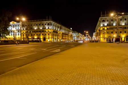 Cityscape in the center of Minsk at the night  Belarus