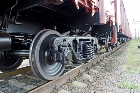 Freight train in perspective close up