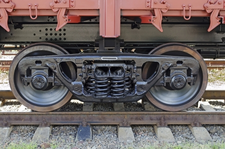 Railroad car wheels close up 版權商用圖片