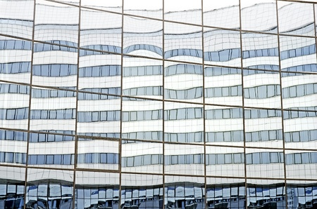 The glass facade of the Ice Palace Minsk Arena, Belarus