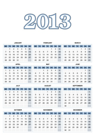 European calendar for 2013 in vector Illustration