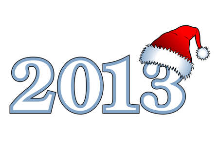 New year - inscription  2013   with Santa Claus hats Stock Vector - 16200293
