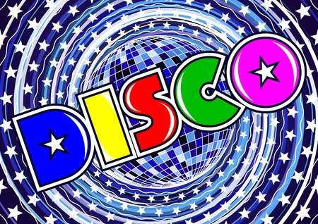 Inscription disco on the abstract background  Vector