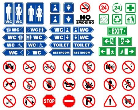 förbjuda: Set med förbudsskyltar och signaler för inomhusbruk navigering