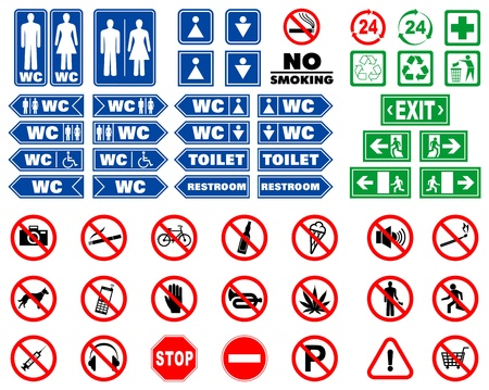 Set of prohibition signs and signals for indoors navigation  Illustration