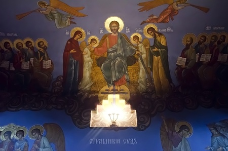 last supper: Image of the Last Judgment (Scary of Gods judgment) on the wall of Trinity cathedral in Pochaev Lavra, Ukraine