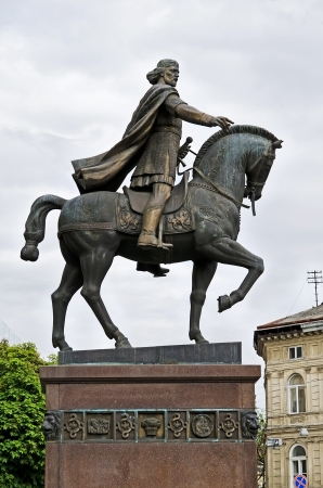 Monument to king Daniel of Galicia  1201-1264 , founder of Lvov Stock Photo