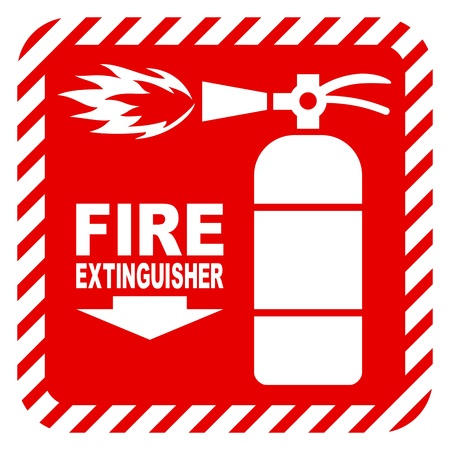 precautions: Sign of the fire extinguisher in vector, isolated over white
