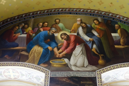 Interior of the Barbara Church in Pochaev Lavra (Pochayiv) near lvov, Ukraine. The painting on the walls - Jesus Christ washes the feet of his disciples. Author unknown