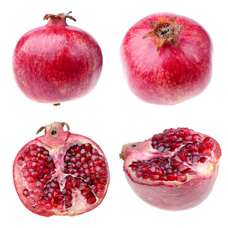 Pomegranate from different angles closeup, isolated over white photo