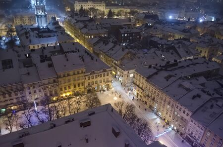 new year eve: Snowy panorama of Lvov on Christmas and New year Eve  Ukraine