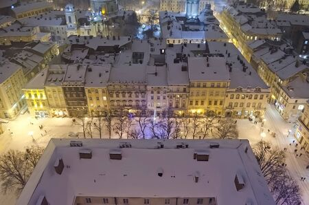 lemberg: Snowy panorama of Lvov on Christmas and New year Eve  Ukraine
