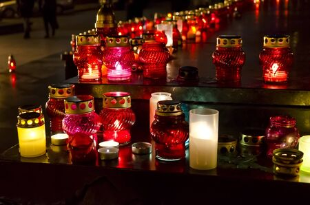 famine: Candles in the center of Lvov on the day of the famine  Holodomor  victims in Ukraine November 24, 2012 Stock Photo