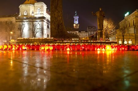 famine: Candles in the center of Lvov on the day of the famine  Holodomor  victims in Ukraine November 24, 2012 Editorial