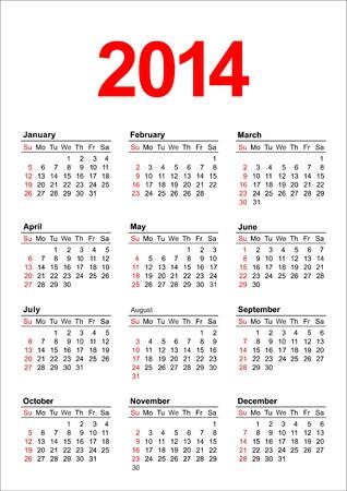 American calendar for 2014 in vector Stock Vector - 17222571