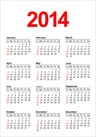 American calendar for 2014 in vector