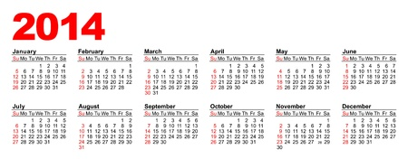American calendar for 2014 in vector Stock Vector - 17222568