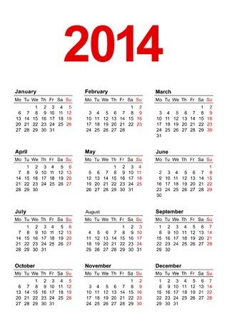 European calendar for 2014 in vector Vector