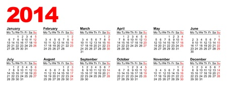European calendar for 2014 in vector Stock Vector - 17222569