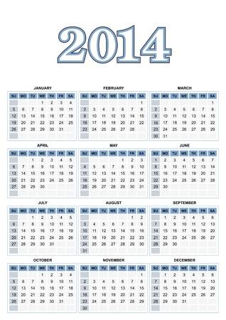American calendar for 2014  Stock Vector - 17250122