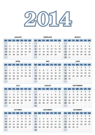 Amerikaanse kalender voor 2014