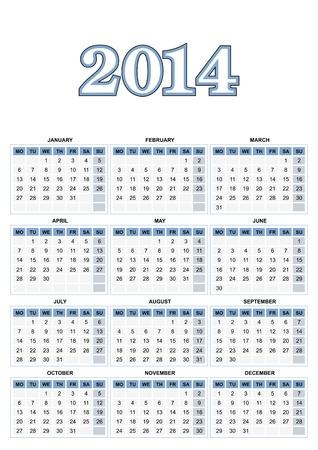 European calendar for 2014 Stock Vector - 17250121
