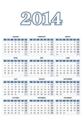 European calendar for 2014  Stock Illustratie