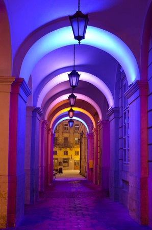 Beautiful colorful street lights at the entrance to the town hall in Lvov photo