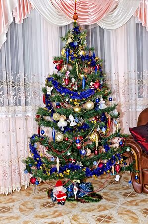 New Year background - Christmas tree decorated with toys Stock Photo - 17604926